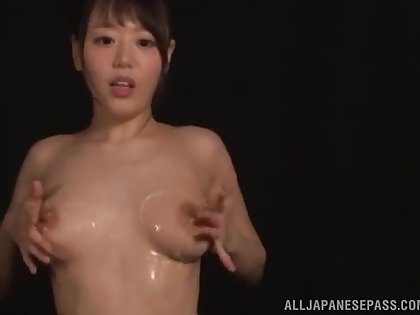 Shy Asian girl Hamasaki Mao plays with her perfect tits