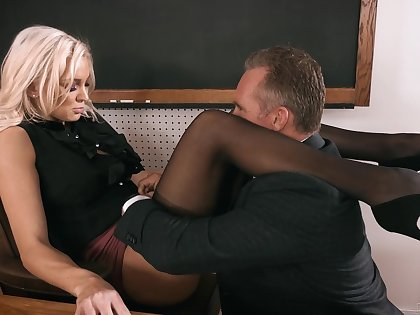 Strict looking busty blonde chief Kenzie Taylor lures dude roughly leman mad