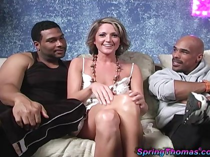 Stiffly Thomas and two interesting black studs wide interracial threesome
