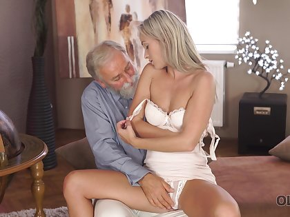 Tanned leggy slender girl Shanie Ryan is fucked by grey haired perversion