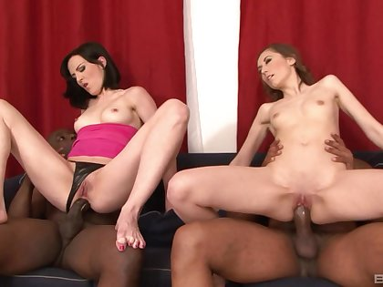 Insane interracial anal foursome foe the two bitches