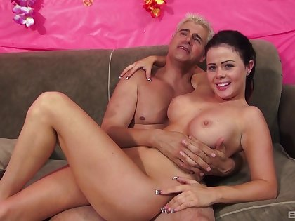 Close give video of sweet Loni Evans riding a large dick on the bed