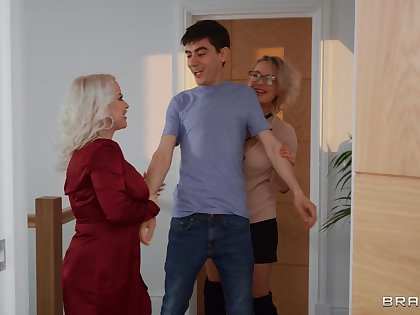 Young lad is in for a huge surprise along two matures