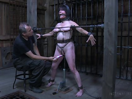 Old bitch with chubby body Femcar gets punished and humiliated in make an issue of BDSM room